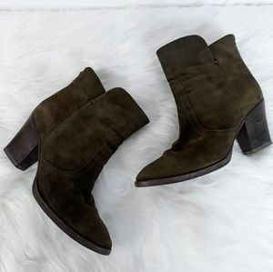 Aquatalia Olive Green Suede Leather Ankle Boots